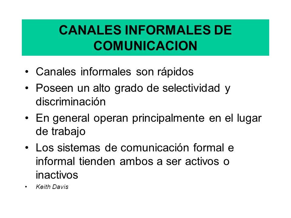 CANALES INFORMALES DE COMUNICACION Canales informales son rápidos Poseen un alto grado de selectividad y discriminación En general operan principalmente en el lugar de trabajo Los sistemas de comunicación formal e informal tienden ambos a ser activos o inactivos Keith Davis