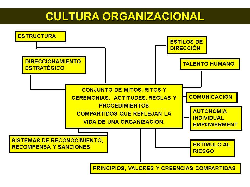 CULTURA ORGANIZACIONAL ESTRUCTURA ESTILOS DE DIRECCIÓN DIRECCIONAMIENTO ESTRATÉGICO TALENTO HUMANO COMUNICACIÓN SISTEMAS DE RECONOCIMIENTO, RECOMPENSA Y SANCIONES PRINCIPIOS, VALORES Y CREENCIAS COMPARTIDAS ESTÍMULO AL RIESGO AUTONOMIA INDIVIDUAL EMPOWERMENT CONJUNTO DE MITOS, RITOS Y CEREMONIAS, ACTITUDES, REGLAS Y PROCEDIMIENTOS COMPARTIDOS QUE REFLEJAN LA VIDA DE UNA ORGANIZACIÓN.
