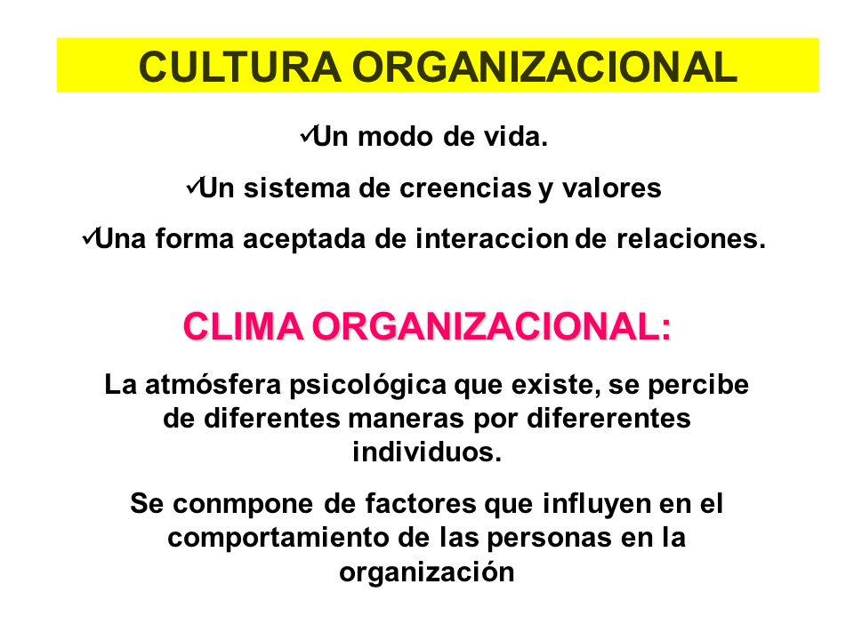 Un modo de vida. Un sistema de creencias y valores Una forma aceptada de interaccion de relaciones. CULTURA ORGANIZACIONAL CLIMA ORGANIZACIONAL: La at