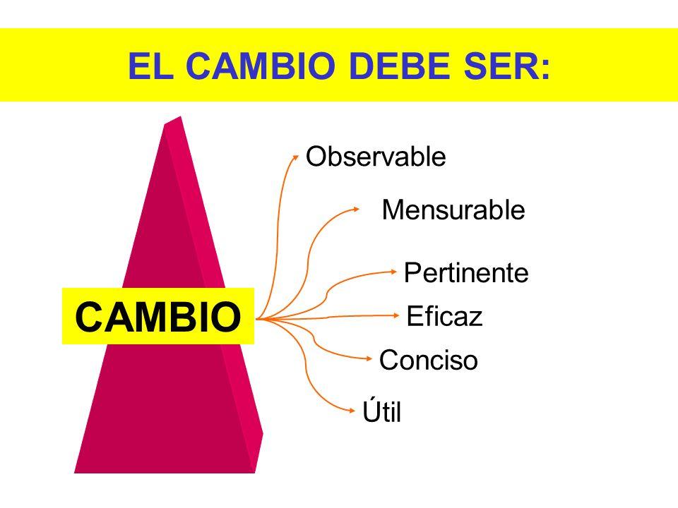 Observable Mensurable Pertinente Eficaz Conciso Útil CAMBIO EL CAMBIO DEBE SER: