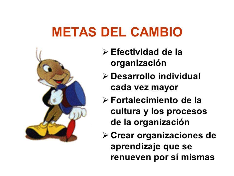 METAS DEL CAMBIO Efectividad de la organización Desarrollo individual cada vez mayor Fortalecimiento de la cultura y los procesos de la organización Crear organizaciones de aprendizaje que se renueven por sí mismas