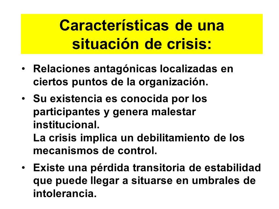 Características de una situación de crisis: Relaciones antagónicas localizadas en ciertos puntos de la organización. Su existencia es conocida por los