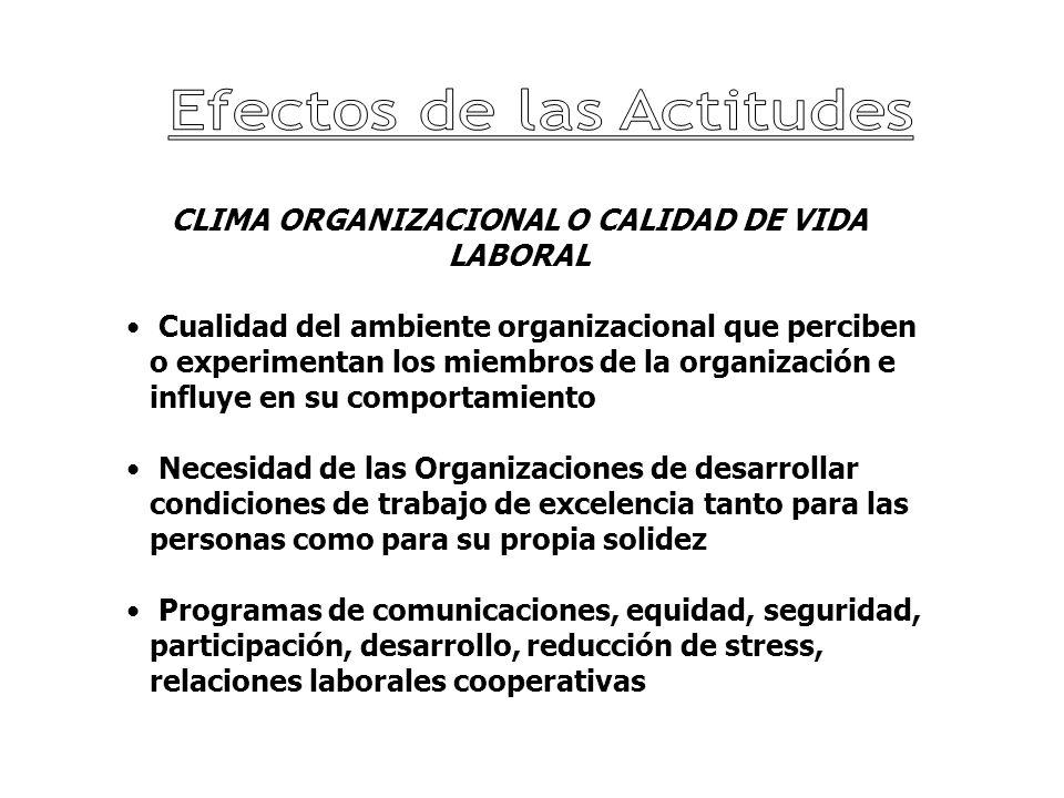 CLIMA ORGANIZACIONAL O CALIDAD DE VIDA LABORAL Cualidad del ambiente organizacional que perciben o experimentan los miembros de la organización e infl