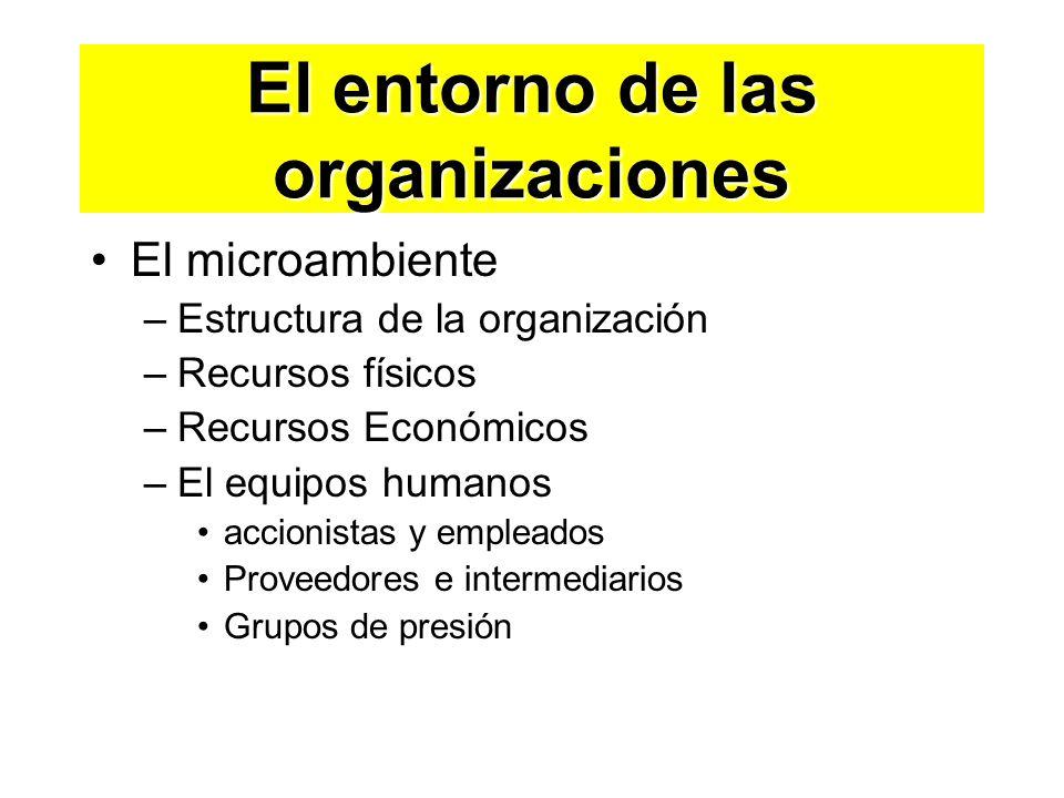El entorno de las organizaciones El microambiente –Estructura de la organización –Recursos físicos –Recursos Económicos –El equipos humanos accionista
