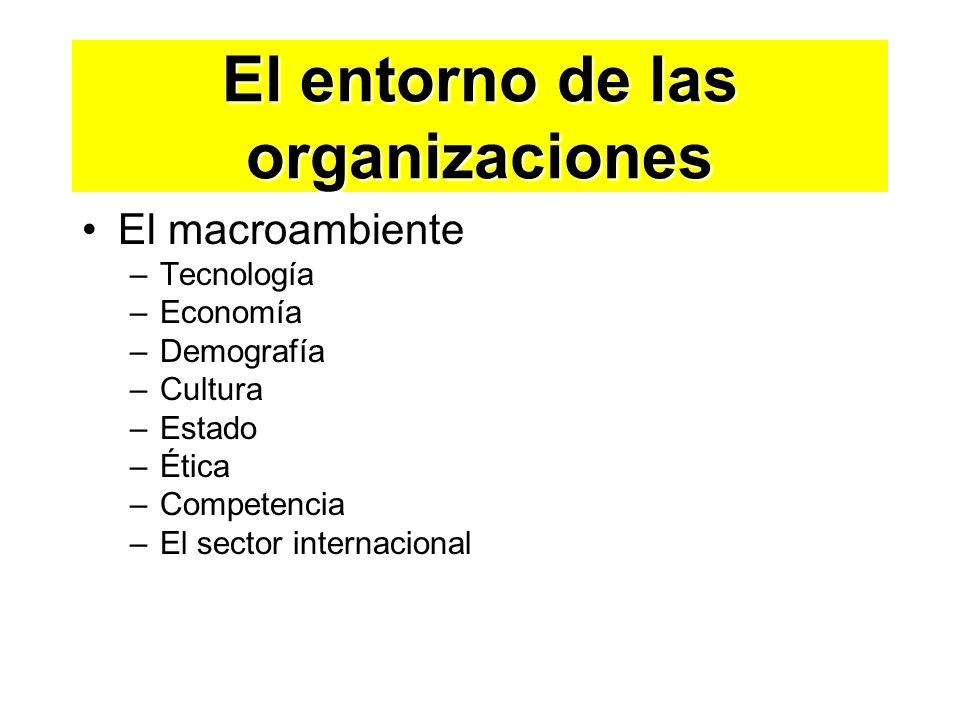 El macroambiente –Tecnología –Economía –Demografía –Cultura –Estado –Ética –Competencia –El sector internacional El entorno de las organizaciones