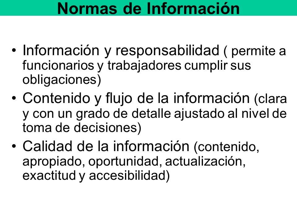 Normas de Información Información y responsabilidad ( permite a funcionarios y trabajadores cumplir sus obligaciones) Contenido y flujo de la información (clara y con un grado de detalle ajustado al nivel de toma de decisiones) Calidad de la información (contenido, apropiado, oportunidad, actualización, exactitud y accesibilidad)
