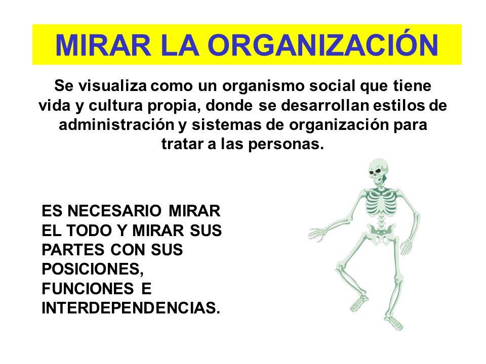 Se visualiza como un organismo social que tiene vida y cultura propia, donde se desarrollan estilos de administración y sistemas de organización para