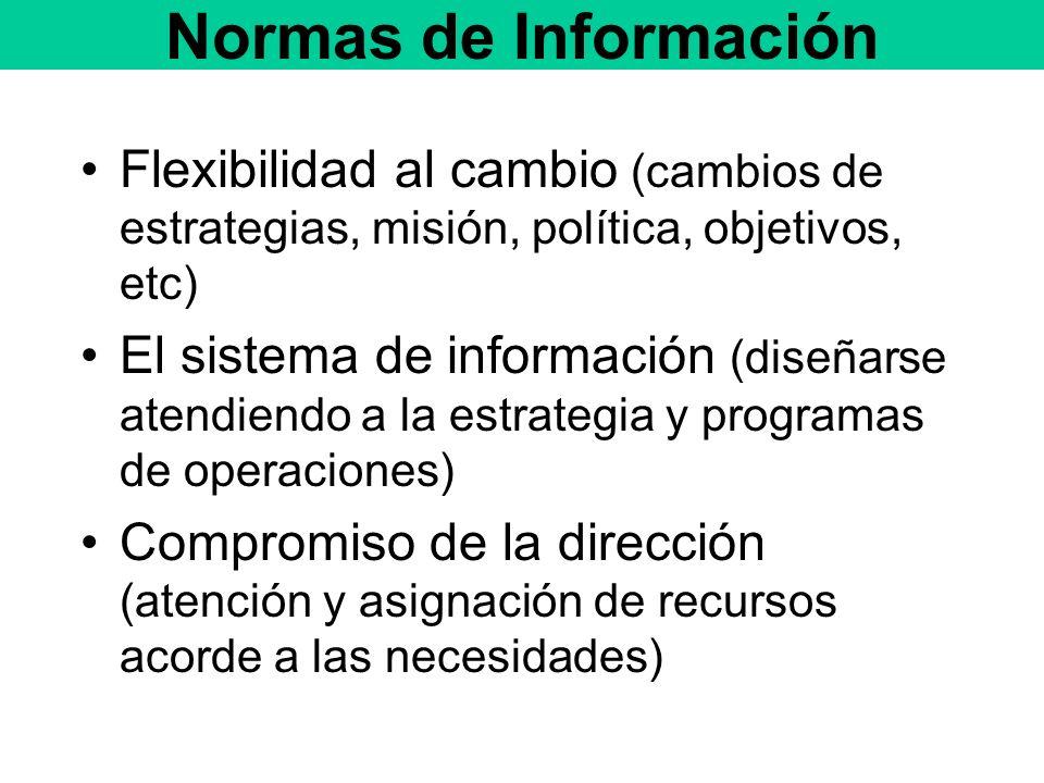 Normas de Información Flexibilidad al cambio (cambios de estrategias, misión, política, objetivos, etc) El sistema de información (diseñarse atendiendo a la estrategia y programas de operaciones) Compromiso de la dirección (atención y asignación de recursos acorde a las necesidades)