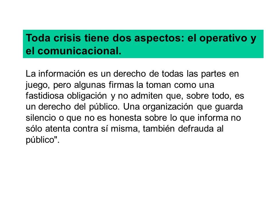 Toda crisis tiene dos aspectos: el operativo y el comunicacional. La información es un derecho de todas las partes en juego, pero algunas firmas la to