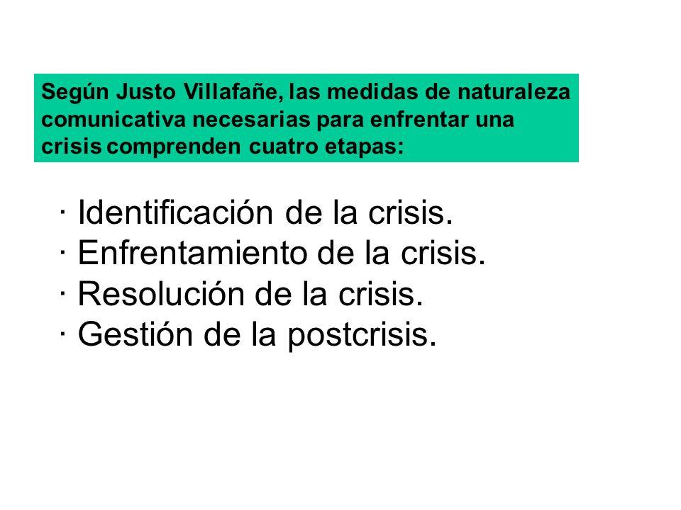 · Identificación de la crisis. · Enfrentamiento de la crisis. · Resolución de la crisis. · Gestión de la postcrisis. Según Justo Villafañe, las medida