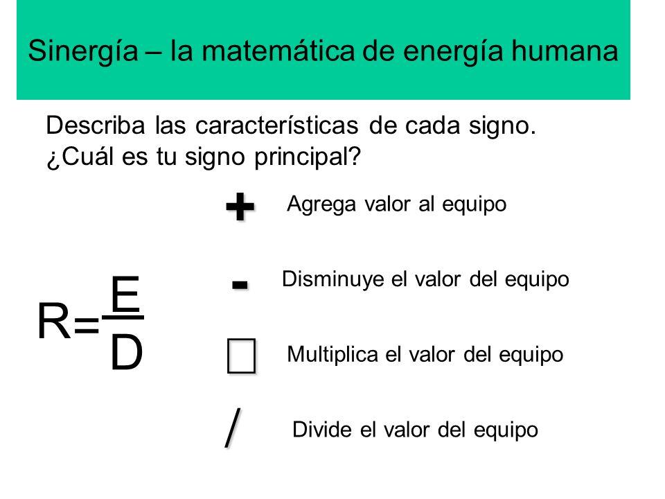 Sinergía – la matemática de energía humana+ - Describa las características de cada signo. ¿Cuál es tu signo principal? Agrega valor al equipo Disminuy