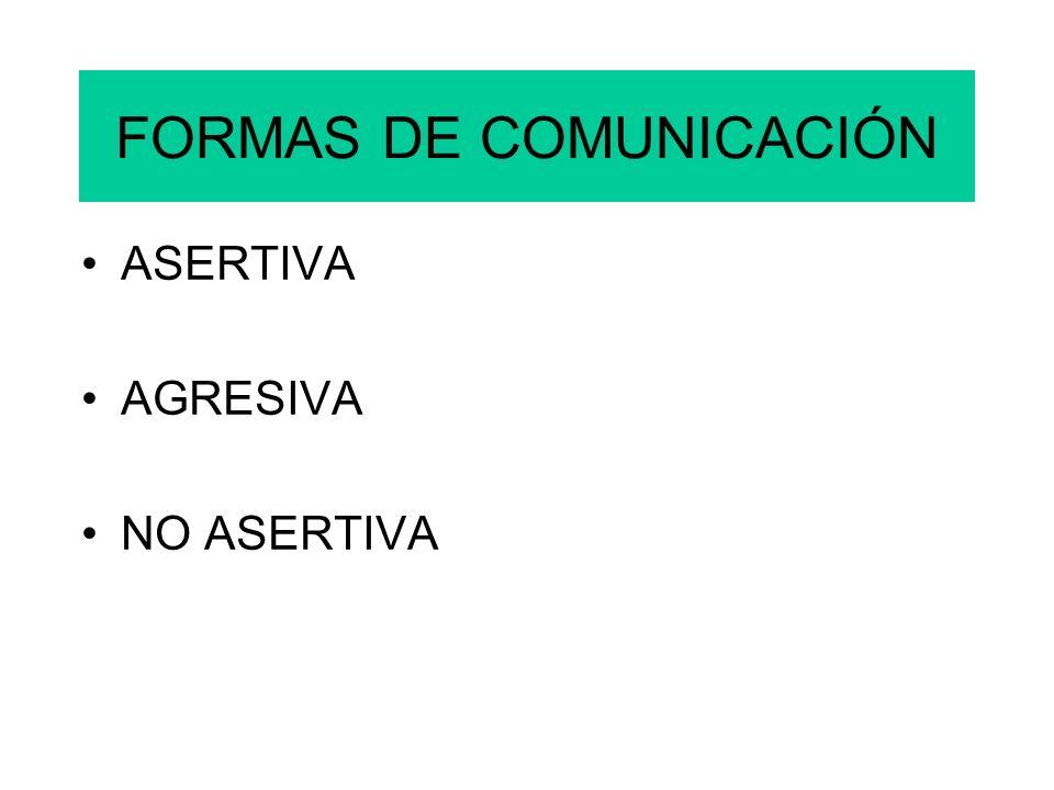 FORMAS DE COMUNICACIÓN ASERTIVA AGRESIVA NO ASERTIVA