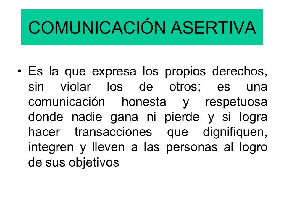 COMUNICACIÓN ASERTIVA Es la que expresa los propios derechos, sin violar los de otros; es una comunicación honesta y respetuosa donde nadie gana ni pierde y si logra hacer transacciones que dignifiquen, integren y lleven a las personas al logro de sus objetivos