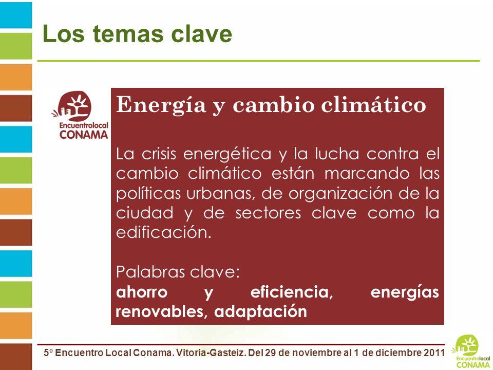 5º Encuentro Local Conama. Vitoria-Gasteiz. Del 29 de noviembre al 1 de diciembre 2011 Los temas clave Energía y cambio climático La crisis energética