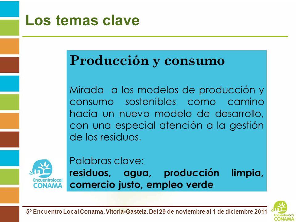 5º Encuentro Local Conama. Vitoria-Gasteiz. Del 29 de noviembre al 1 de diciembre 2011 Los temas clave Producción y consumo Mirada a los modelos de pr