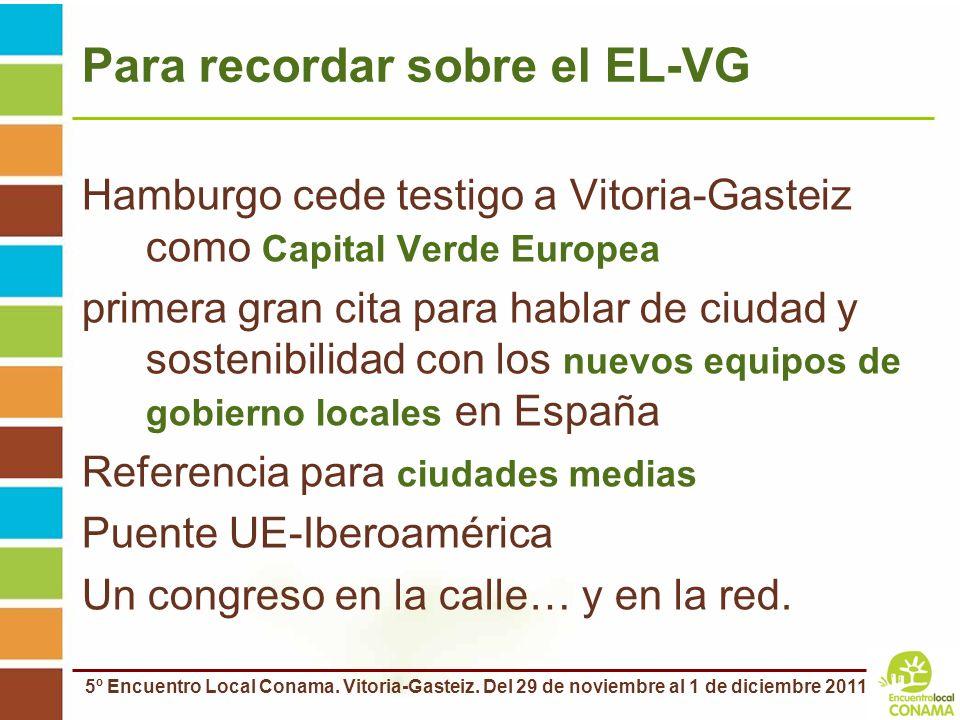 5º Encuentro Local Conama. Vitoria-Gasteiz. Del 29 de noviembre al 1 de diciembre 2011 Para recordar sobre el EL-VG Hamburgo cede testigo a Vitoria-Ga