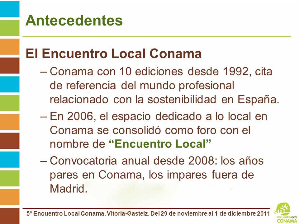5º Encuentro Local Conama. Vitoria-Gasteiz. Del 29 de noviembre al 1 de diciembre 2011 Antecedentes El Encuentro Local Conama –Conama con 10 ediciones