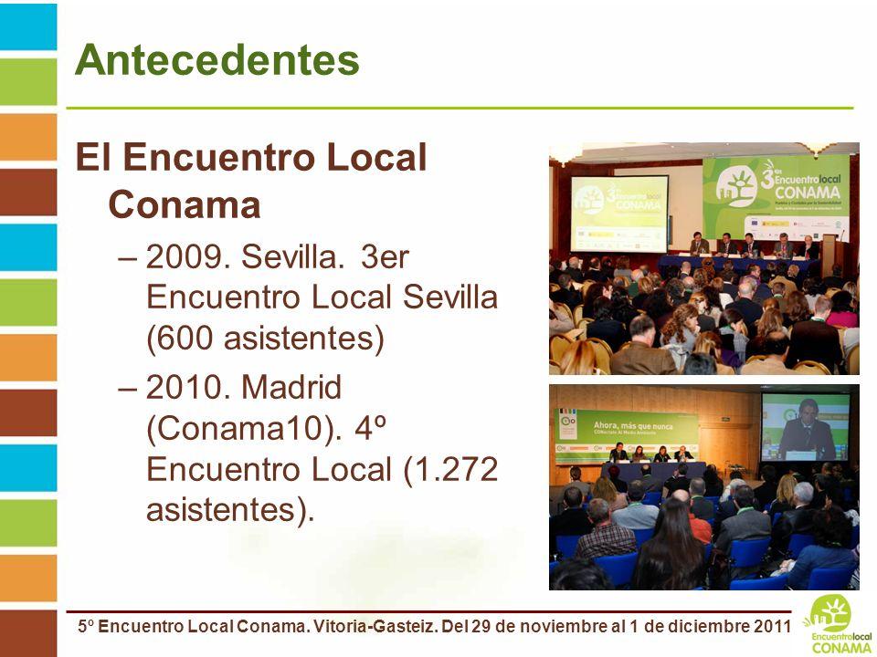 5º Encuentro Local Conama. Vitoria-Gasteiz. Del 29 de noviembre al 1 de diciembre 2011 Antecedentes El Encuentro Local Conama –2009. Sevilla. 3er Encu