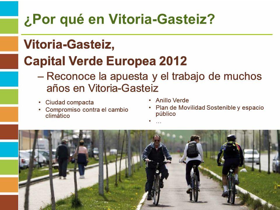 5º Encuentro Local Conama. Vitoria-Gasteiz. Del 29 de noviembre al 1 de diciembre 2011 ¿Por qué en Vitoria-Gasteiz? Anillo Verde Plan de Movilidad Sos