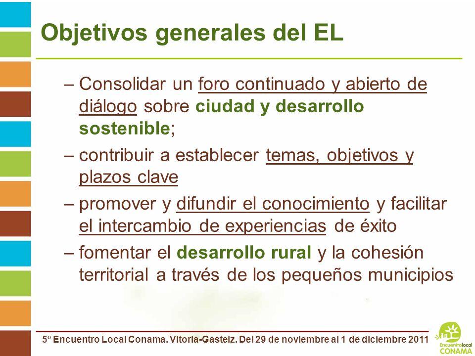 5º Encuentro Local Conama. Vitoria-Gasteiz. Del 29 de noviembre al 1 de diciembre 2011 Objetivos generales del EL –Consolidar un foro continuado y abi