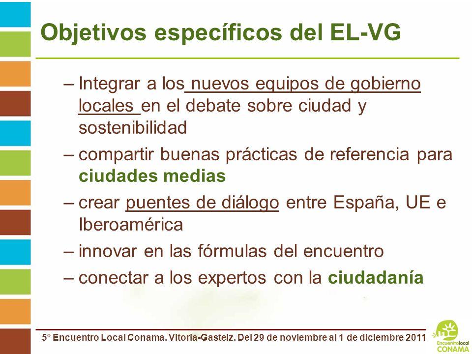 5º Encuentro Local Conama. Vitoria-Gasteiz. Del 29 de noviembre al 1 de diciembre 2011 Objetivos específicos del EL-VG –Integrar a los nuevos equipos