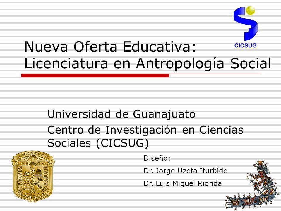 Nueva Oferta Educativa: Licenciatura en Antropología Social Universidad de Guanajuato Centro de Investigación en Ciencias Sociales (CICSUG) Diseño: Dr.
