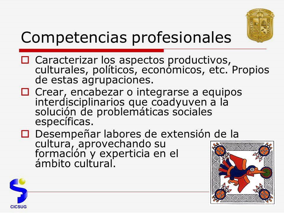 Competencias profesionales Caracterizar los aspectos productivos, culturales, políticos, económicos, etc.