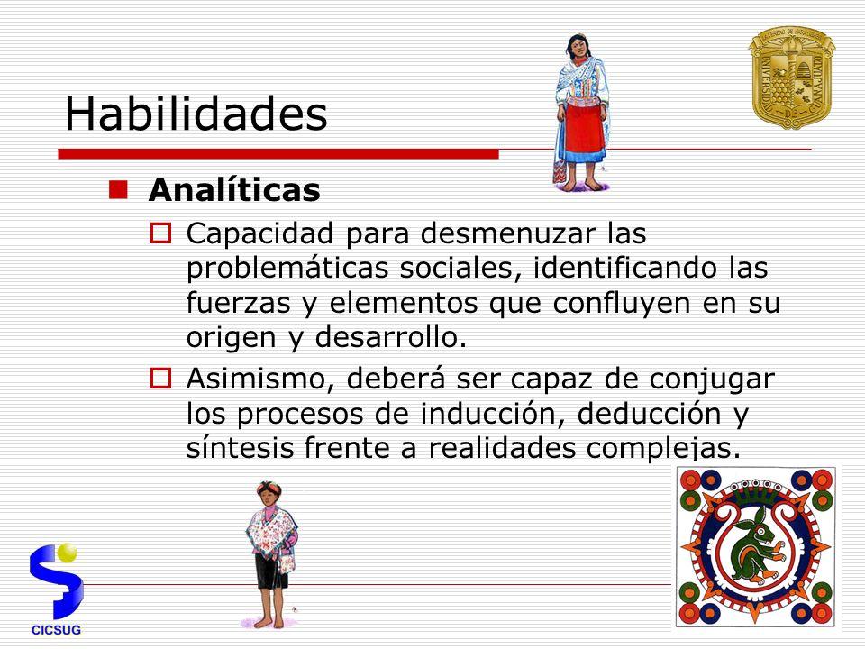 Habilidades Analíticas Capacidad para desmenuzar las problemáticas sociales, identificando las fuerzas y elementos que confluyen en su origen y desarrollo.