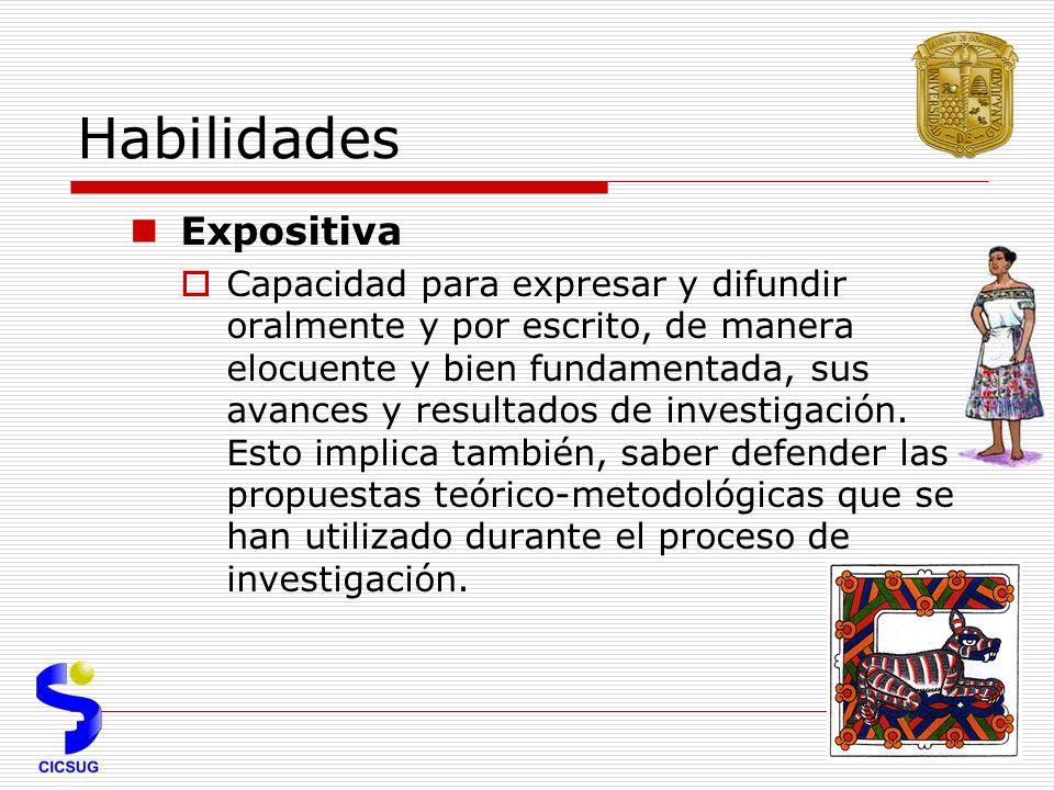 Habilidades Expositiva Capacidad para expresar y difundir oralmente y por escrito, de manera elocuente y bien fundamentada, sus avances y resultados de investigación.