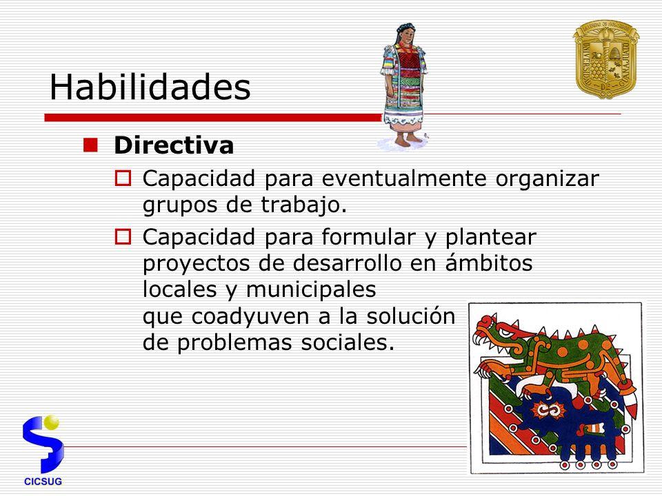 Habilidades Directiva Capacidad para eventualmente organizar grupos de trabajo.