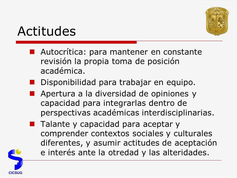 Actitudes Autocrítica: para mantener en constante revisión la propia toma de posición académica.