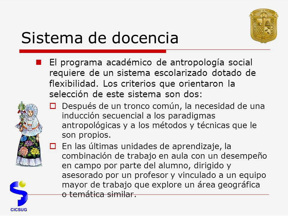 Sistema de docencia El programa académico de antropología social requiere de un sistema escolarizado dotado de flexibilidad.