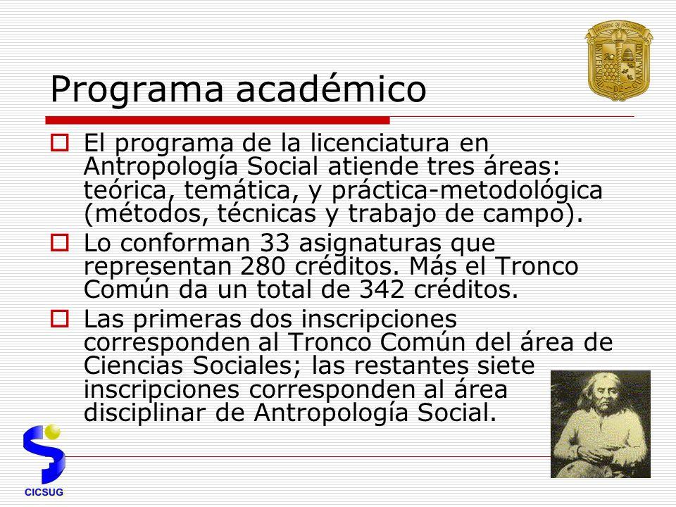 Programa académico El programa de la licenciatura en Antropología Social atiende tres áreas: teórica, temática, y práctica-metodológica (métodos, técnicas y trabajo de campo).