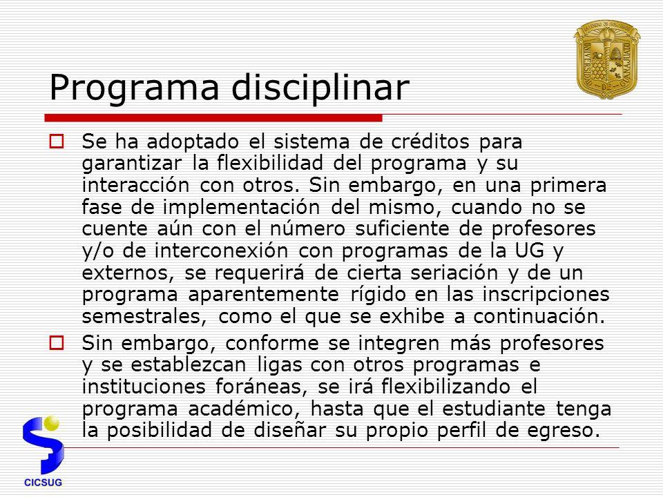 Programa disciplinar Se ha adoptado el sistema de créditos para garantizar la flexibilidad del programa y su interacción con otros.