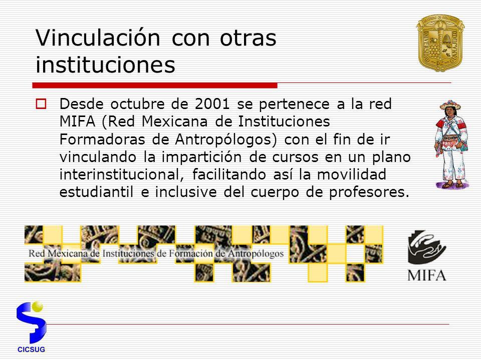 Vinculación con otras instituciones Desde octubre de 2001 se pertenece a la red MIFA (Red Mexicana de Instituciones Formadoras de Antropólogos) con el fin de ir vinculando la impartición de cursos en un plano interinstitucional, facilitando así la movilidad estudiantil e inclusive del cuerpo de profesores.