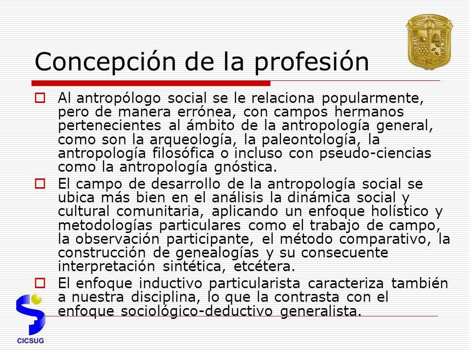 Concepción de la profesión Al antropólogo social se le relaciona popularmente, pero de manera errónea, con campos hermanos pertenecientes al ámbito de la antropología general, como son la arqueología, la paleontología, la antropología filosófica o incluso con pseudo-ciencias como la antropología gnóstica.