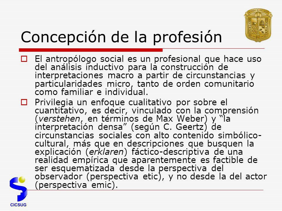 Concepción de la profesión El antropólogo social es un profesional que hace uso del análisis inductivo para la construcción de interpretaciones macro a partir de circunstancias y particularidades micro, tanto de orden comunitario como familiar e individual.