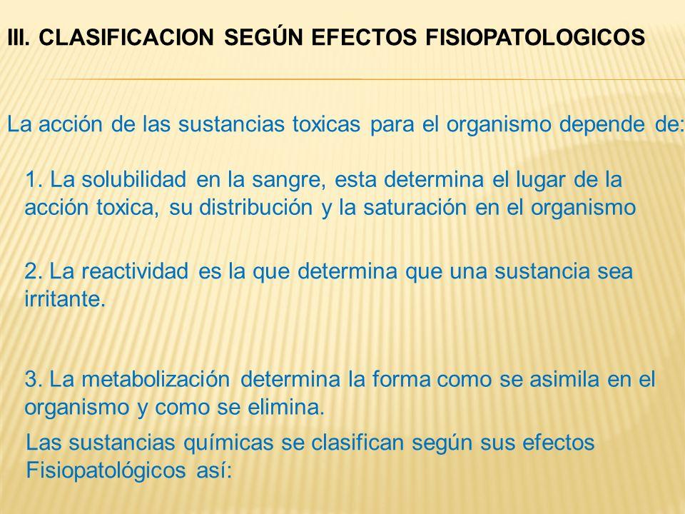 III. CLASIFICACION SEGÚN EFECTOS FISIOPATOLOGICOS La acción de las sustancias toxicas para el organismo depende de: 1.La solubilidad en la sangre, est