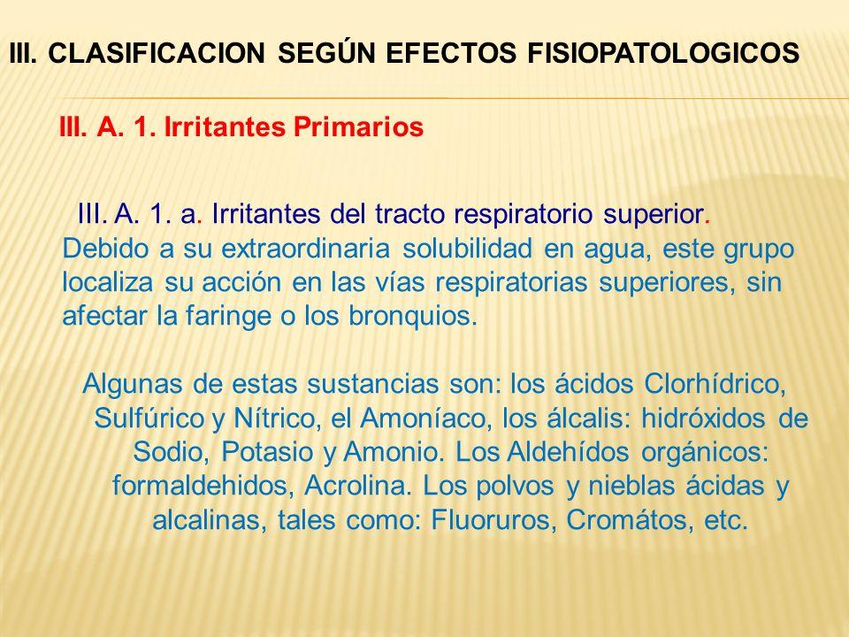 III. A. 1. a. Irritantes del tracto respiratorio superior. Debido a su extraordinaria solubilidad en agua, este grupo localiza su acción en las vías r