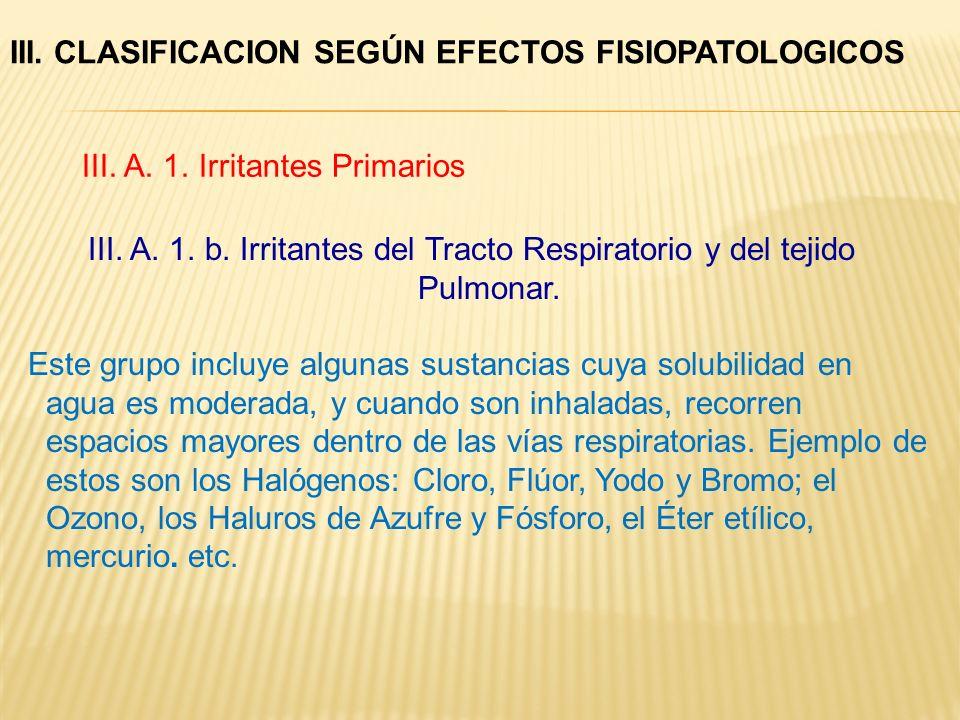III. A. 1. b. Irritantes del Tracto Respiratorio y del tejido Pulmonar. Este grupo incluye algunas sustancias cuya solubilidad en agua es moderada, y