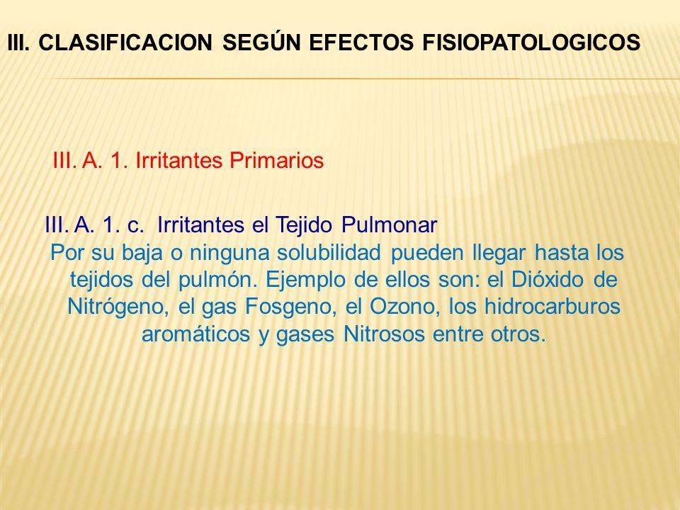 III. A. 1. c. Irritantes el Tejido Pulmonar Por su baja o ninguna solubilidad pueden llegar hasta los tejidos del pulmón. Ejemplo de ellos son: el Dió
