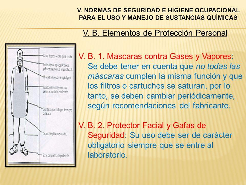 V. B. 1. Mascaras contra Gases y Vapores: Se debe tener en cuenta que no todas las máscaras cumplen la misma función y que los filtros o cartuchos se