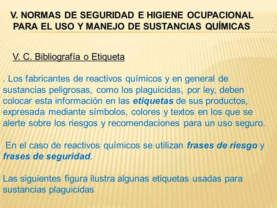 V. C. Bibliografía o Etiqueta. Los fabricantes de reactivos químicos y en general de sustancias peligrosas, como los plaguicidas, por ley, deben coloc