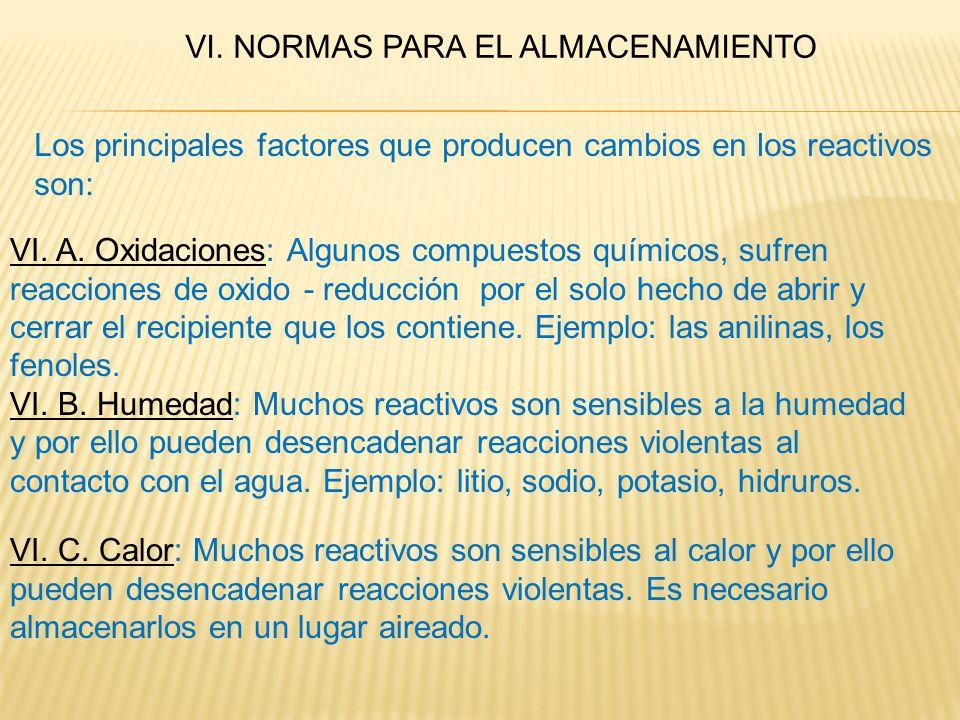 VI. NORMAS PARA EL ALMACENAMIENTO Los principales factores que producen cambios en los reactivos son: VI. A. Oxidaciones: Algunos compuestos químicos,