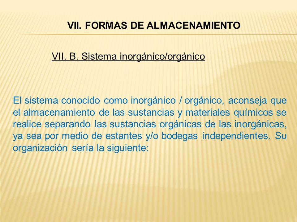 VII. B. Sistema inorgánico/orgánico El sistema conocido como inorgánico / orgánico, aconseja que el almacenamiento de las sustancias y materiales quím