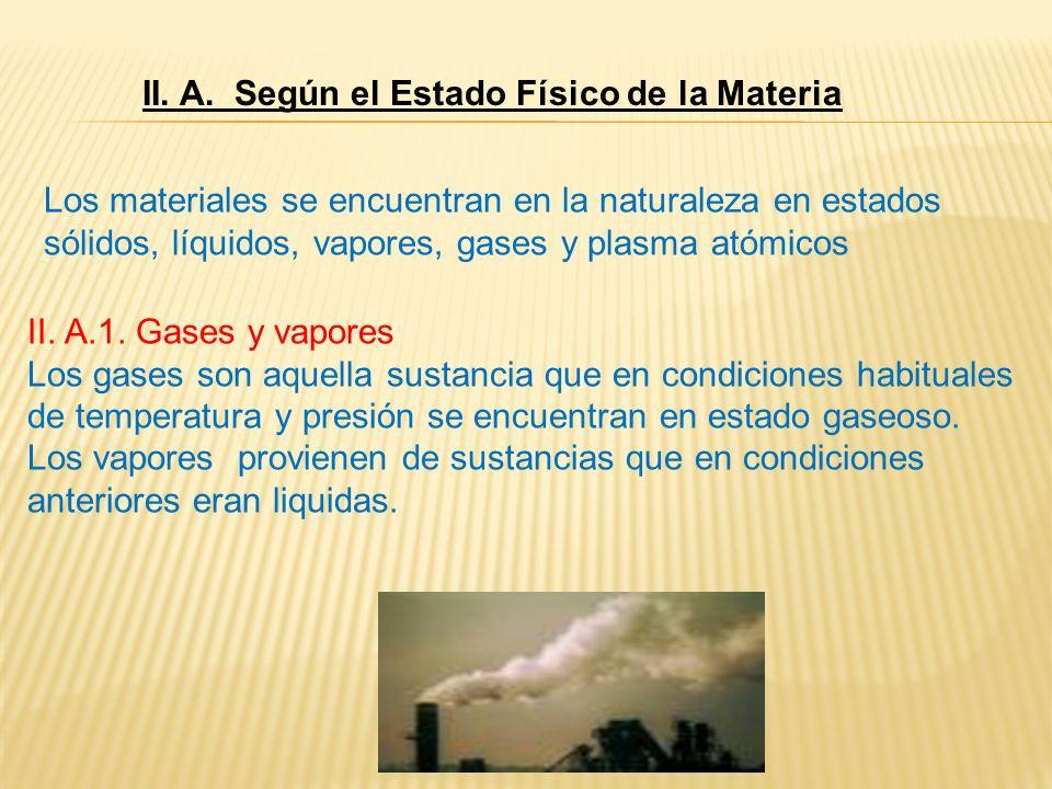 II. A. Según el Estado Físico de la Materia Los materiales se encuentran en la naturaleza en estados sólidos, líquidos, vapores, gases y plasma atómic