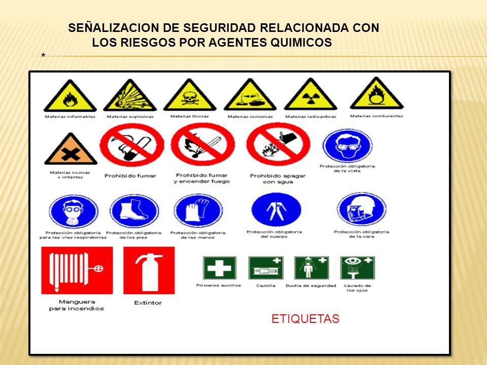 SEÑALIZACION DE SEGURIDAD RELACIONADA CON LOS RIESGOS POR AGENTES QUIMICOS * ETIQUETAS
