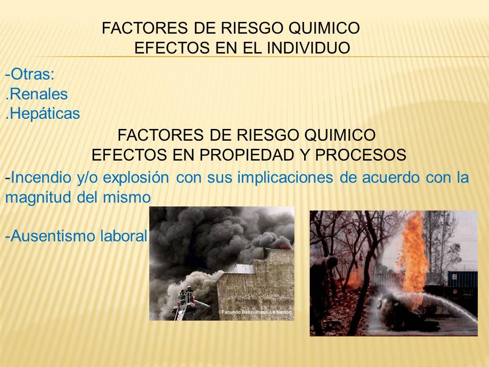 FACTORES DE RIESGO QUIMICO EFECTOS EN EL INDIVIDUO -Otras:.Renales.Hepáticas FACTORES DE RIESGO QUIMICO EFECTOS EN PROPIEDAD Y PROCESOS -Incendio y/o