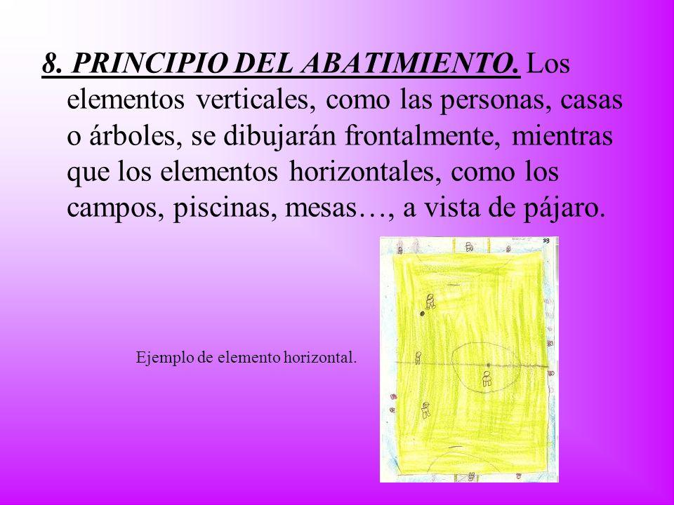8. PRINCIPIO DEL ABATIMIENTO. Los elementos verticales, como las personas, casas o árboles, se dibujarán frontalmente, mientras que los elementos hori