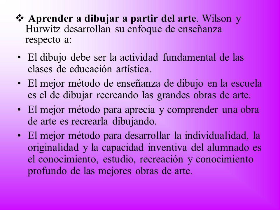 Aprender a dibujar a partir del arte. Wilson y Hurwitz desarrollan su enfoque de enseñanza respecto a: El dibujo debe ser la actividad fundamental de